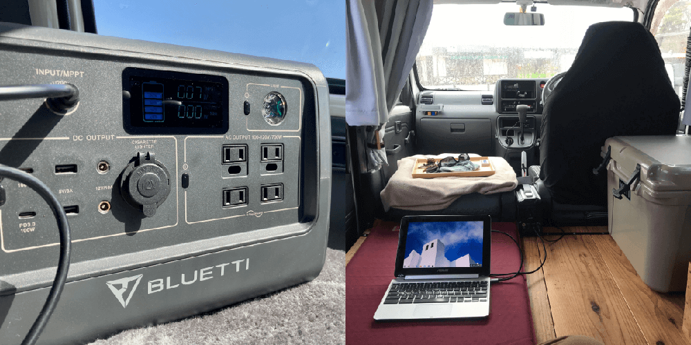 ポータブル電源「BLUETTI(ブルーティ) EB70」を車内で使っているところ