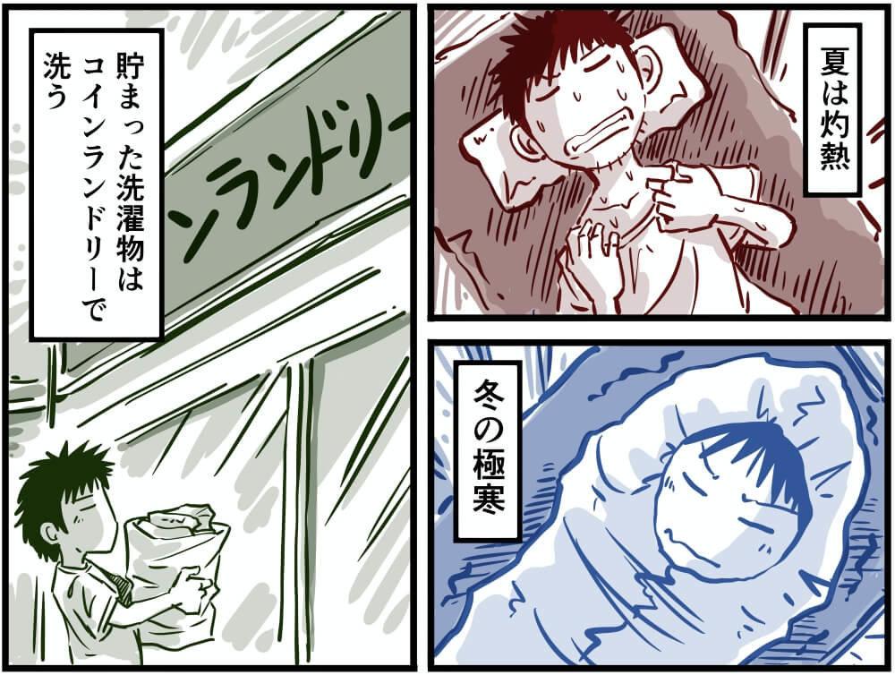スズキ・エブリイで車中泊をする車中泊漫画家・井上いちろうさんのイラスト