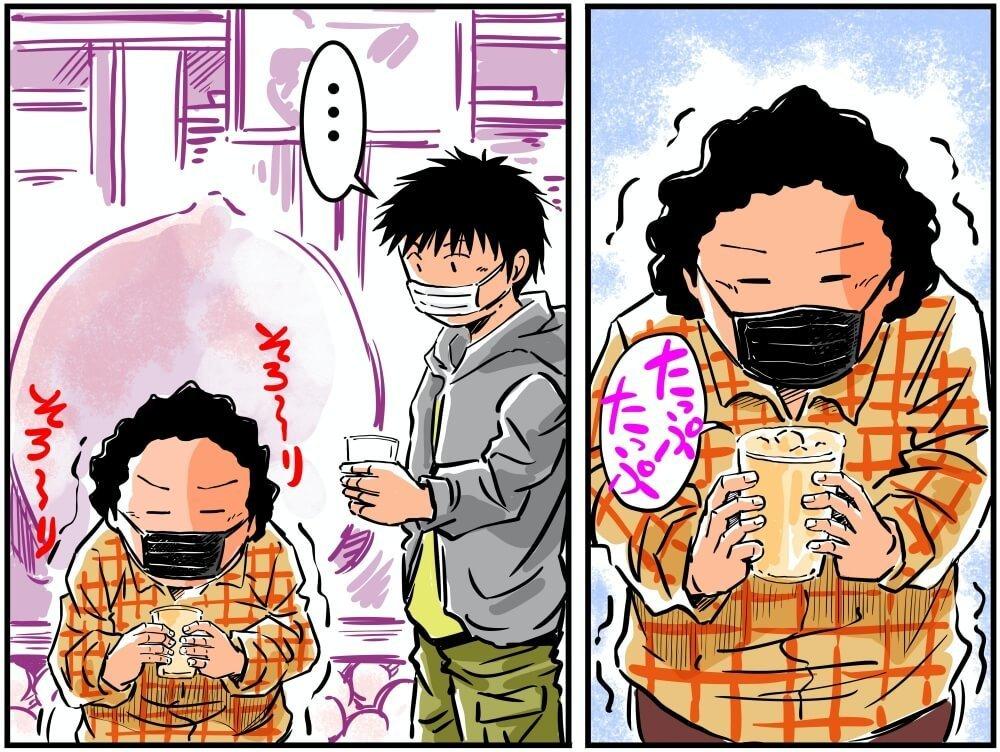 Sweets monmoの蛇口からももジュースを入れる車中泊漫画家・井上いちろうさんのイラスト