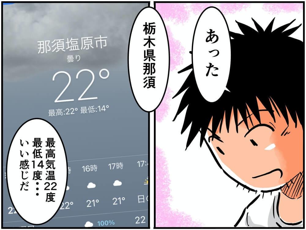 スマホのお天気アプリで全国の気温を調べる車中泊漫画家・井上いちろうさんのイラスト
