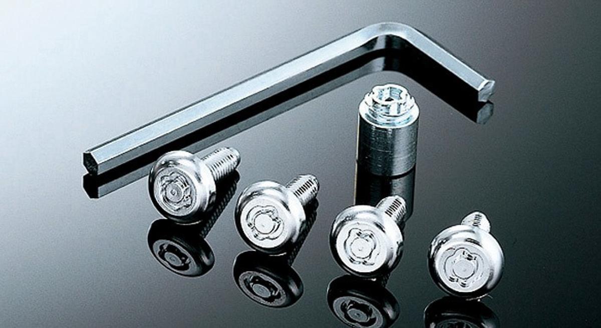 ナンバープレートを盗難から防ぐためのナンバープレートロックボルト。製品自体のルックスもいいのでドレスアップ要素もあります