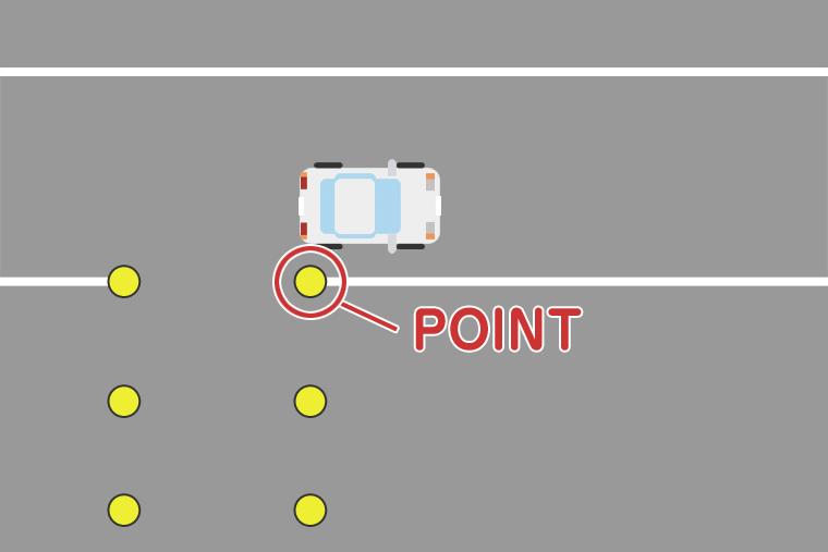 車体は真っ直ぐのまま右後輪と目印の位置をあわせましょう。