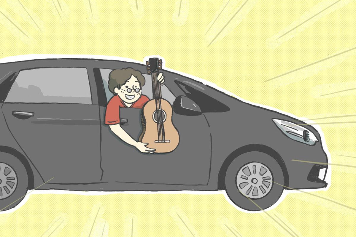 窓口からギターを渡すイラスト