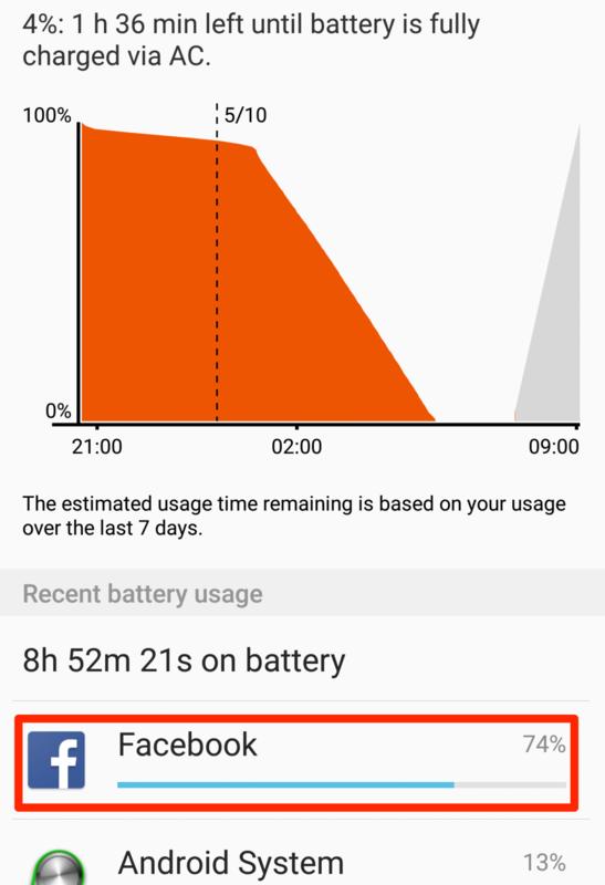 Facebook電池消費