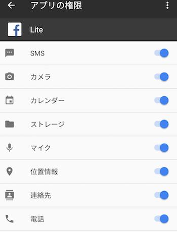 Facebookアプリ権限