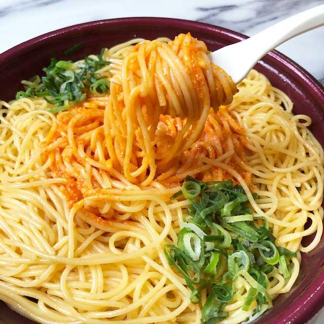 大盛り!明太マヨのスパゲティはクリーミーな味わい