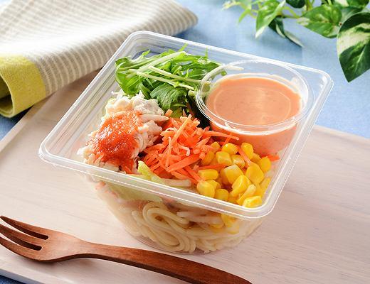 蒸し鶏のパスタサラダ(明太クリームドレ)