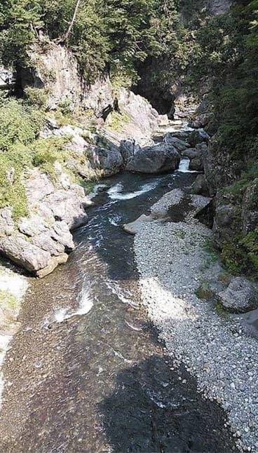 渓流を俯瞰で観る