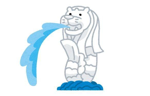 マーライオンが水を吐きだしているイラスト