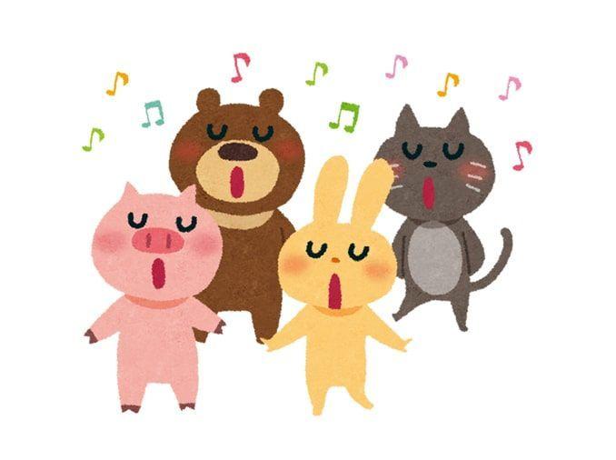 ぶた、クマ、うさぎ、ネコが合唱しているイラスト