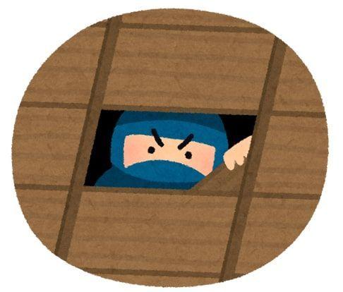 天井裏から忍者が部屋を覗いてるイラスト