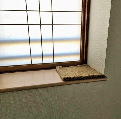 窓際の板の上に置かれたもこもこの中敷き