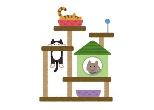 キャットタワーで遊ぶ猫達のイラスト