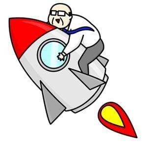 スーツのおじさんがロケットにつかまり飛んで行くイラスト