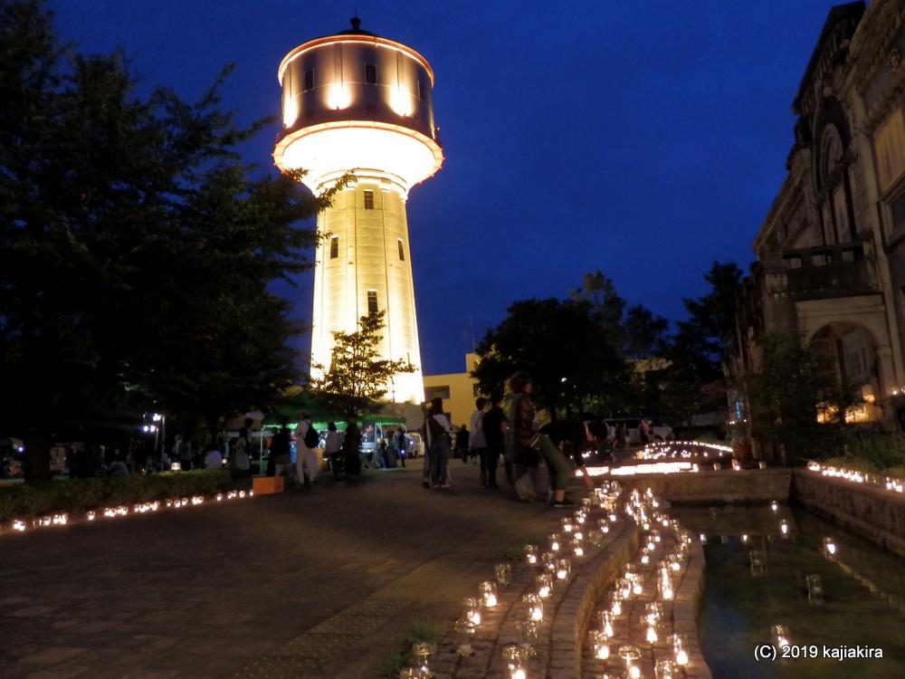 みんなで灯そう 水道タンク キャンドルナイト 2019(長岡市・水道公園)