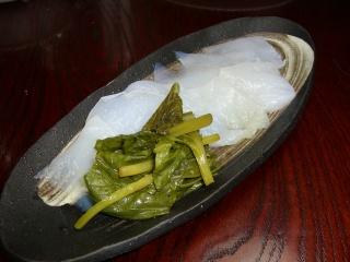 刺身こんにゃくと山葵菜の醤油漬け