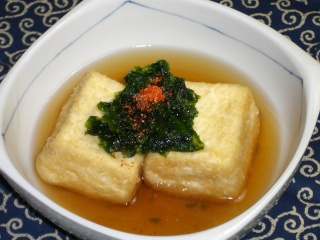 揚げ出し豆腐の生青海苔のせ