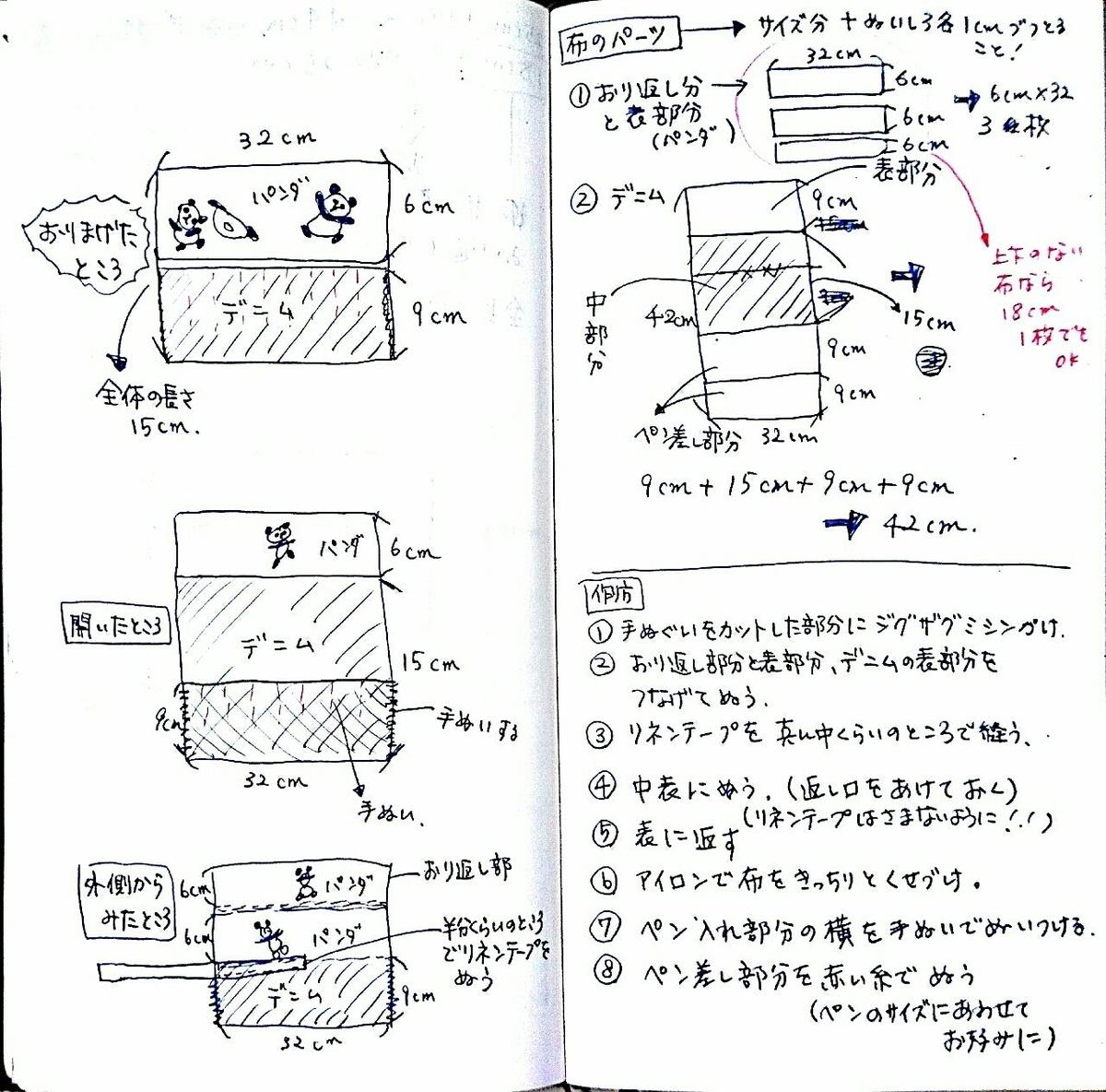 ダイソーの手ぬぐいで作る筆巻きのレシピ