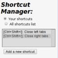 Google Chrome上のShortcut Manager 設定後のショートカット一覧