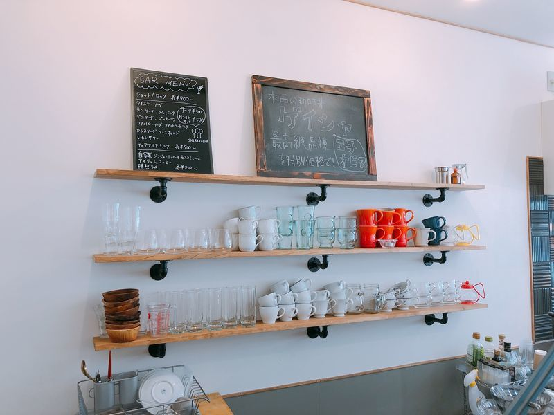 本日の珈琲を表示する黒板