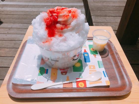 かき氷【いちご】(580円+練乳トッピング 50円)