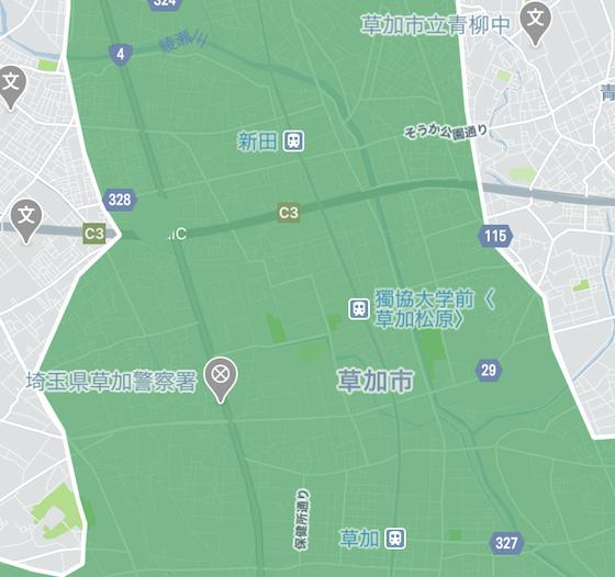 草加市のUber Eats配達可能範囲-1(2020年4月現在)
