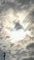 にわかに曇り始めたおかげで 姿を見せた日食の太陽
