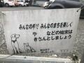 猫湧き駐車場の注意書き