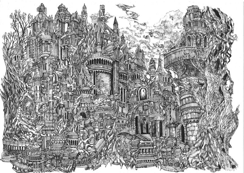 細密画ペン画都市