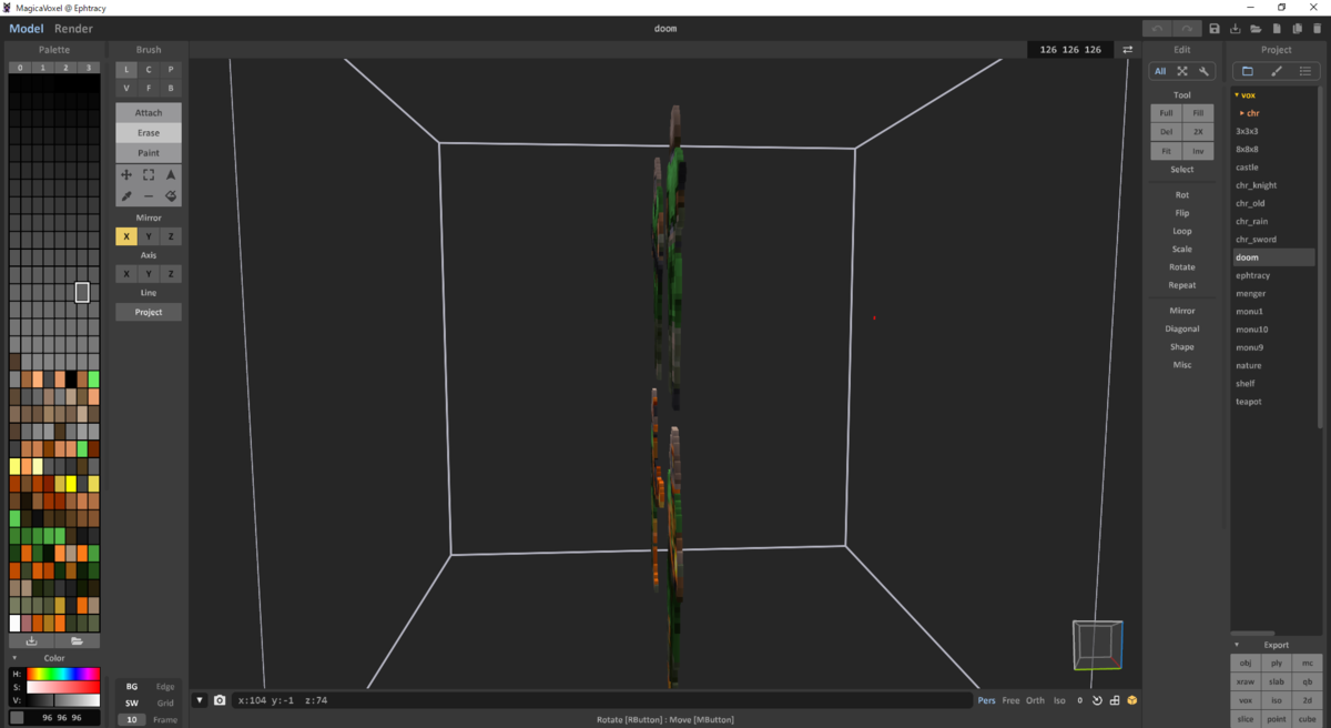 MagicaVoxel ボクセルモデル DOOM