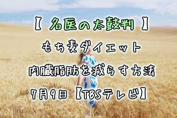 【名医の太鼓判】もち麦ダイエット・内臓脂肪を減らす方法 7月9日【TBSテレビ】
