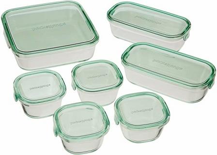 iwaki(イワキ) 耐熱ガラス 保存容器 グリーン 7個セット パック&レンジ