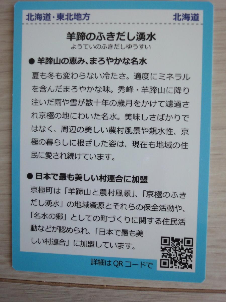 名水百選カード 京極町