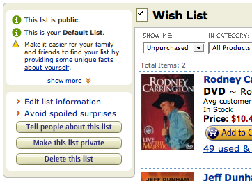 Amazon.com Wish List