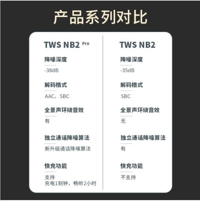 NB2とNB2 Proの相違点。ほぼEarFun Air Proとの相違点と同じです