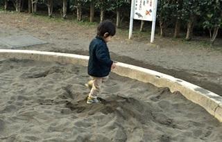 砂場で破壊行為
