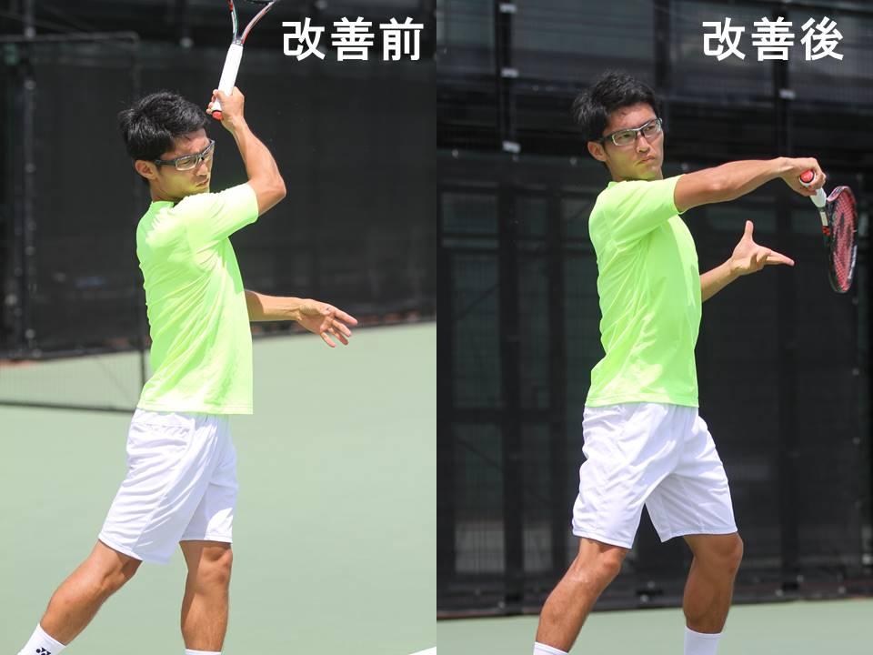 肘がつまって打点が遅れているようなフォームからドリル実践BeforeAfter