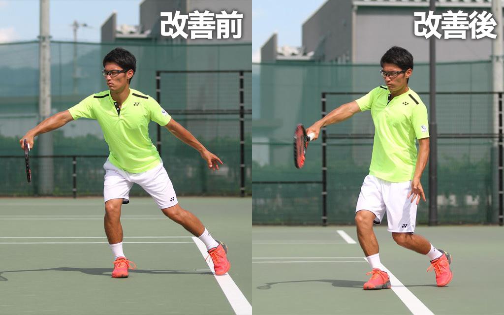 前に傾いてボールを当てに行ってしまうフォームからドリル実践Before→After(フォーム)