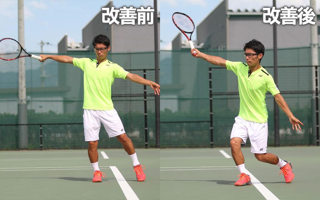 手打ちで力強いボールが打てないうフォームからドリル実践Before→After(フォーム)