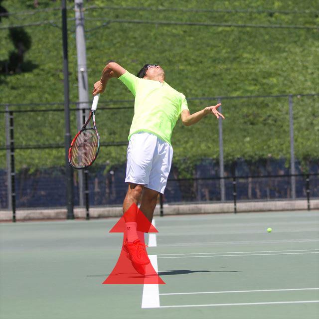 ボールにパワーを伝えるために非常に重要なレッグドライブ(曲げた膝を伸ばして上体を真上に突き上げていく)