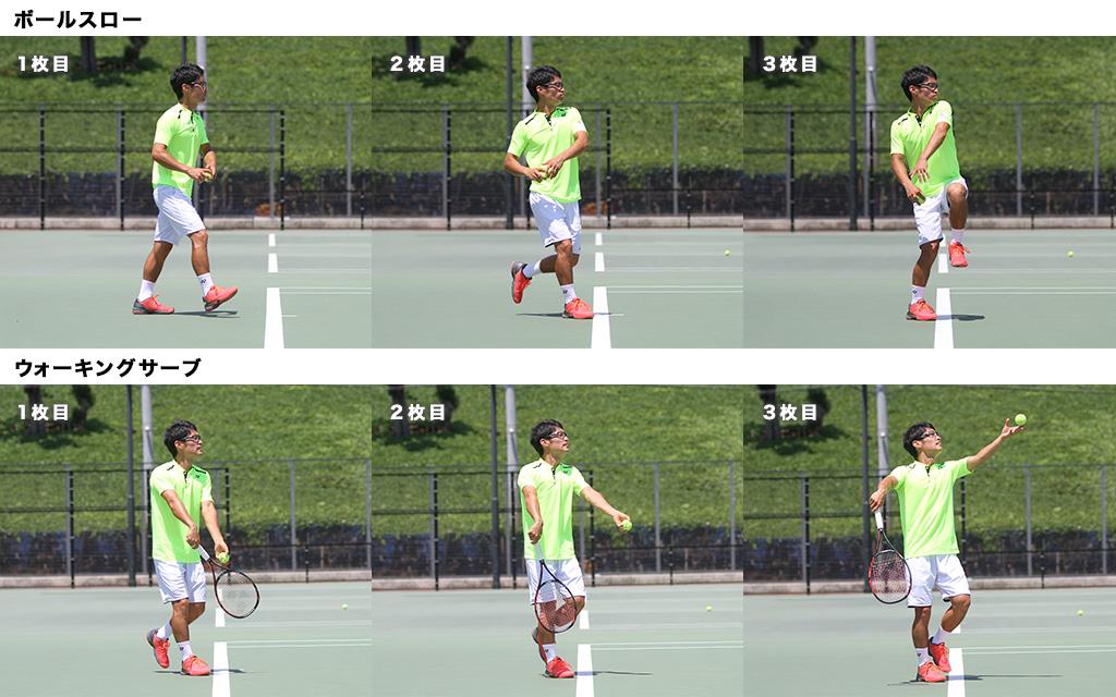 ボールスローのリズムをウォーキングサーブのリズムに取り入れよう取り入れよう!比較画像1