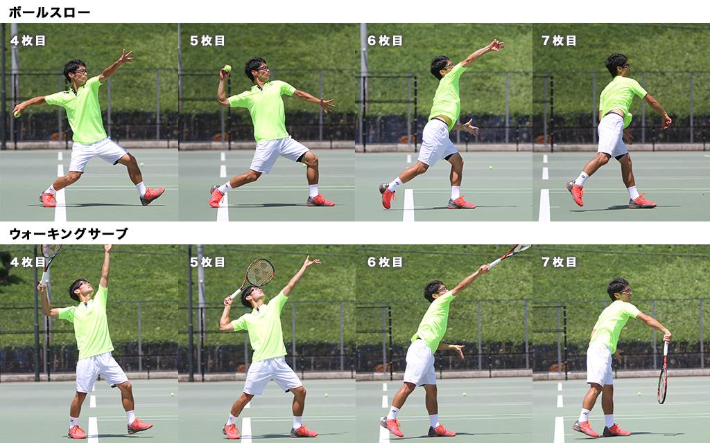 ボールスローのリズムをウォーキングサーブのリズムに取り入れよう取り入れよう!比較画像2