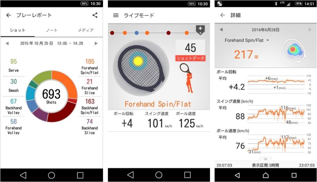 スマートテニスセンサーアプリの各種画面