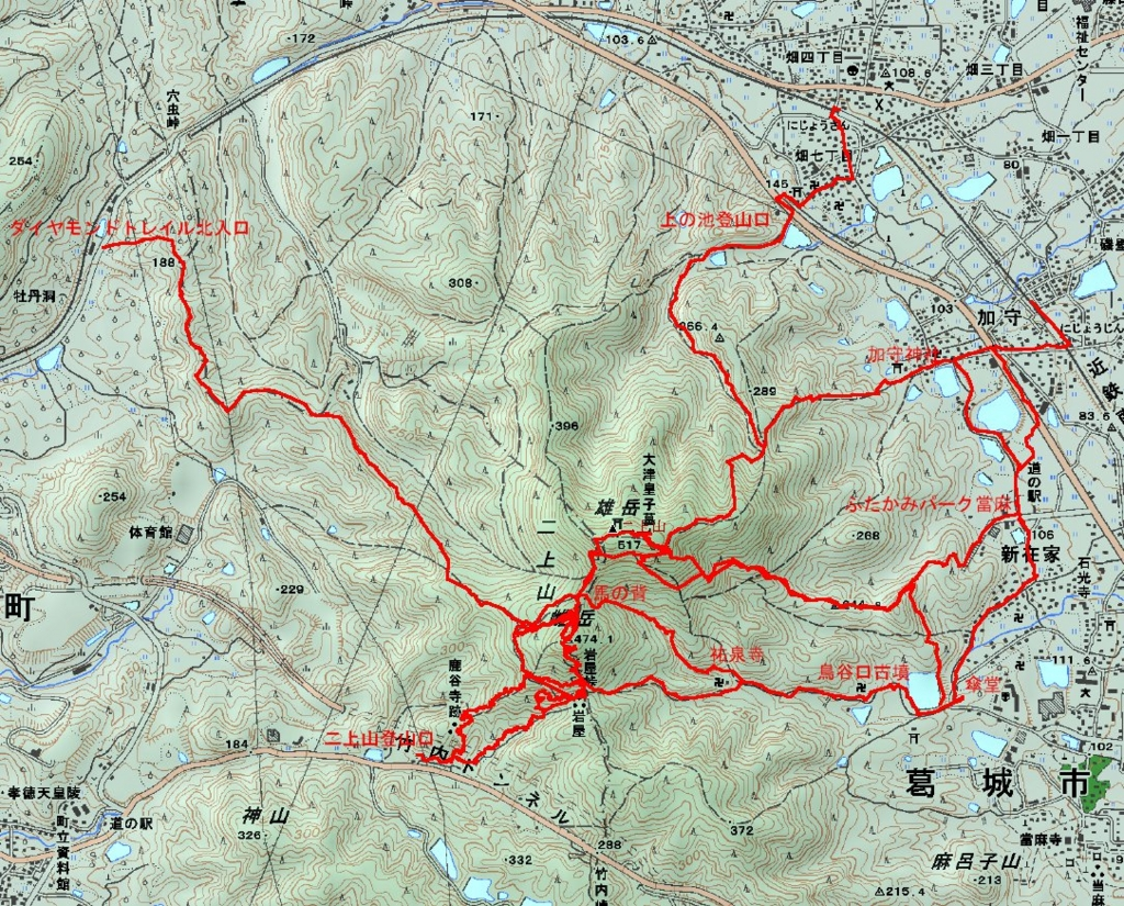 二上山登山ルート地図