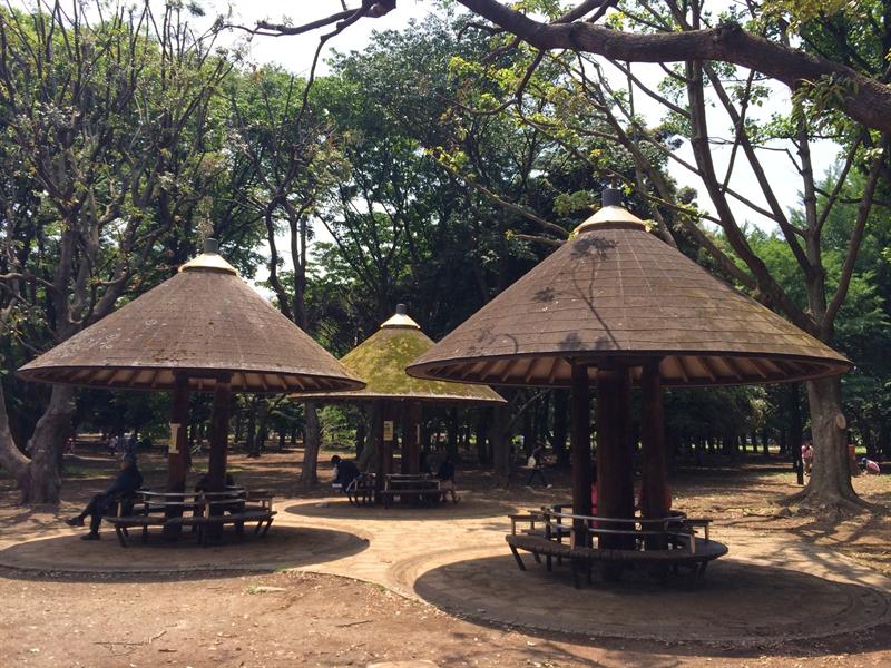 代々木公園のキノコ型休憩所