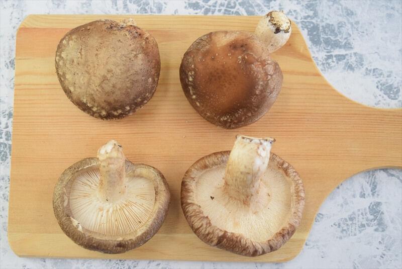 左:原木椎茸、右:菌床椎茸