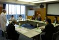 県立がんセンターでの意見交換会。挨拶は県立がんセンターの福田院長