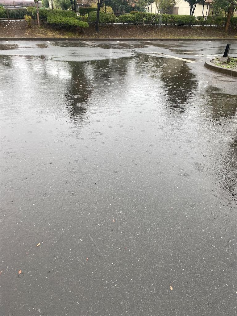 雨で水たまりだらけの駐車場