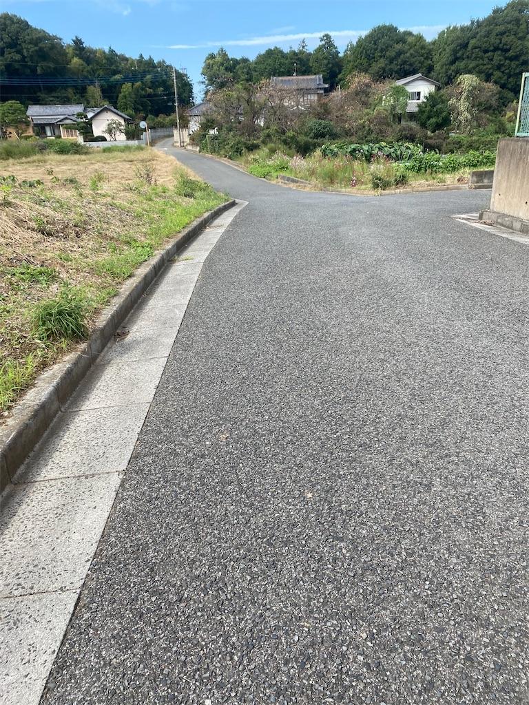 狭いアスファルトの道路の脇が畑