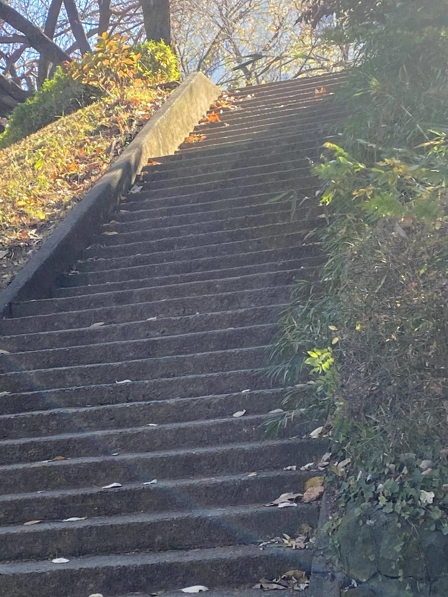 外にある階段